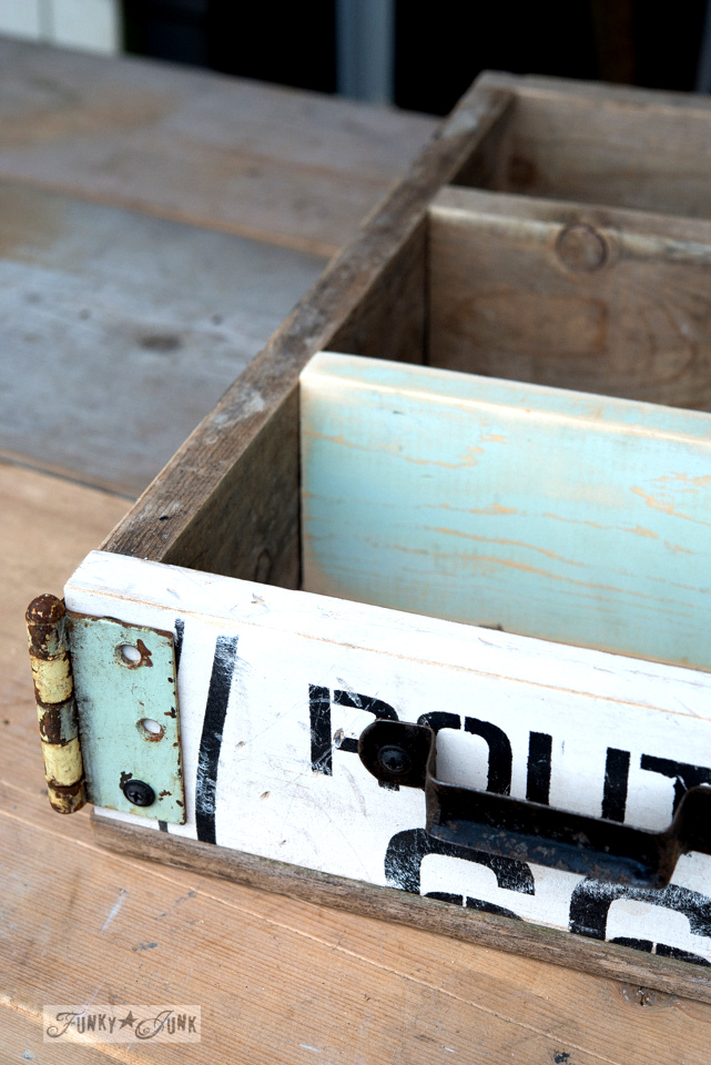 aqua rusty hinge / A stencilled random reclaimed wood junk drawer with dividers / FunkyJunkInteriors.net