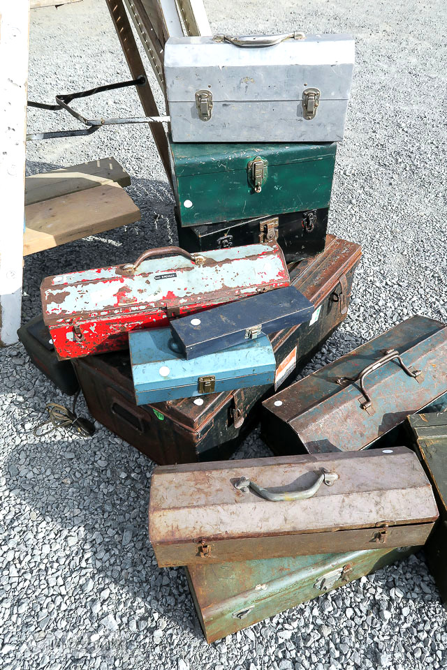 Old metal toolboxes at The Olde Farmhouse Vintage Market / funkyjunkinteriors.net