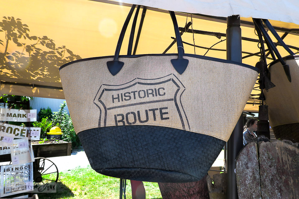 Route 66 tote bag at The Olde Farmhouse Vintage Market / funkyjunkinteriors.net