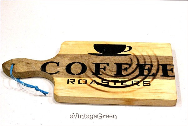 Cutting board Coffee sign, by A Vintage Green, featured on Funky Junk Interiors