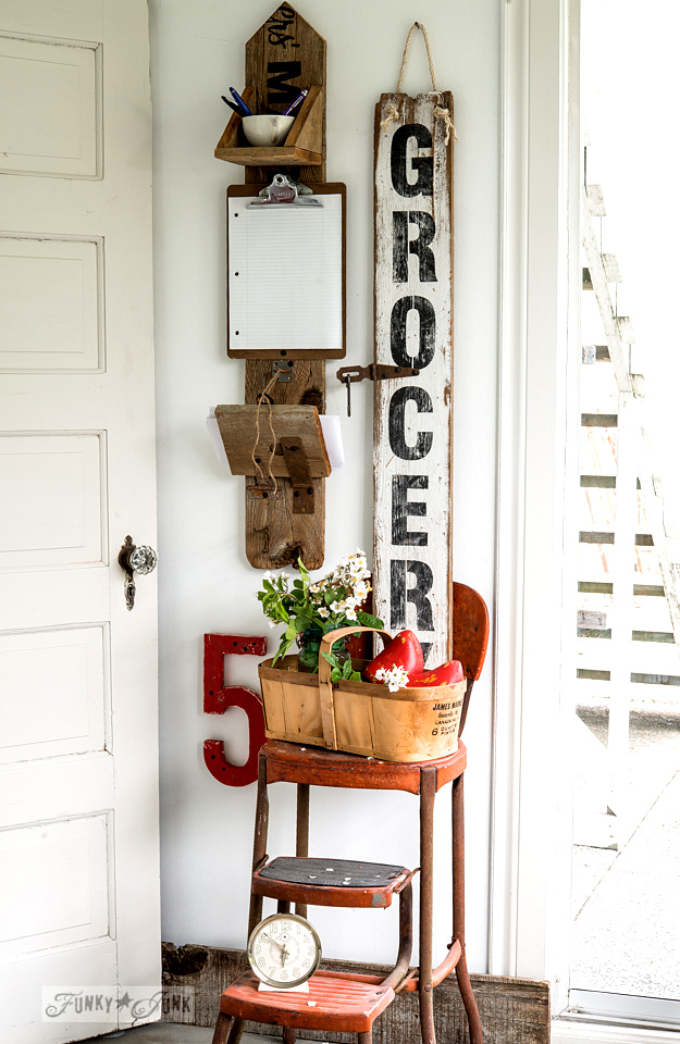 Vintage looking Grocery sign in black and white, created from Funky Junk's Old Sign Stencils / funkyjunkinteriors.net