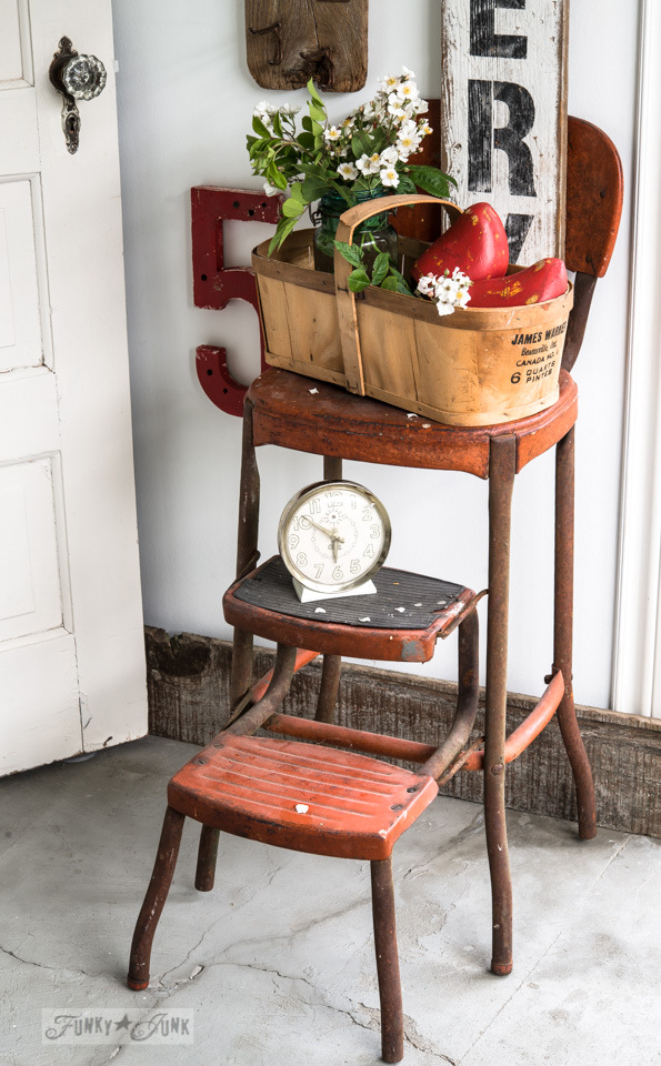 Red metal vintage kitchen stool with pull out steps / FunkyJunkInteriors.net