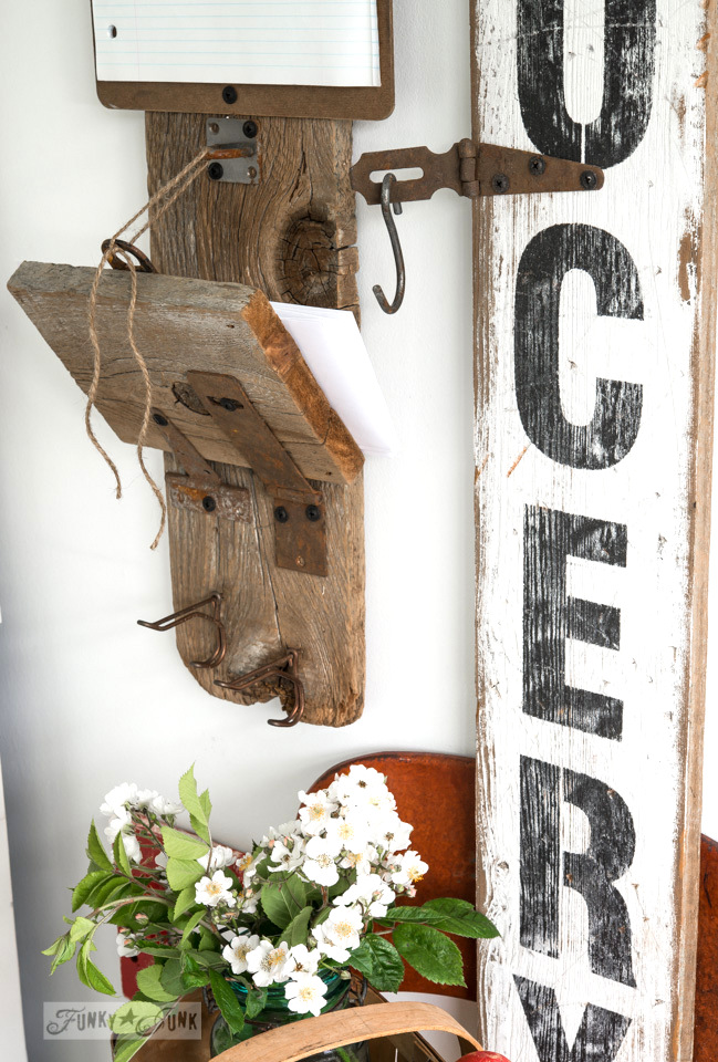 Envelope holder shelf on rusty hinges / Reclaimed wood message centre and Grocery sign / FunkyJunkInteriors.net