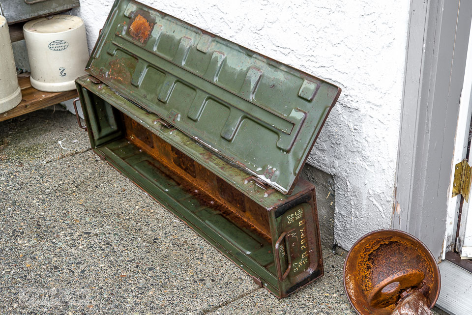 army green metal ammunition trunk / funkyjunkinteriors.net