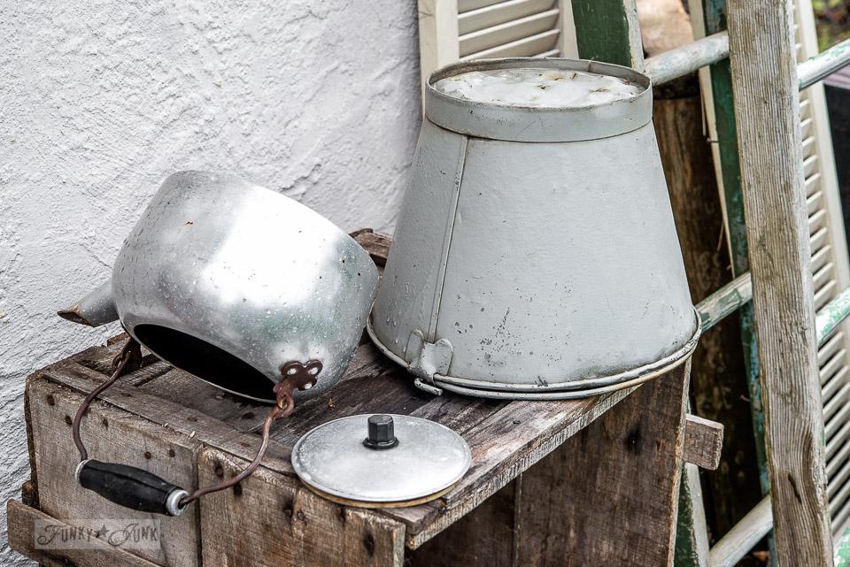 grey milk bucket and galvanized tea kettle / washing market junk / Funkyjunkinteriors.net