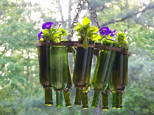 Wine bottle planter by Artsy Va Va, featured on Funky Junk Interiors