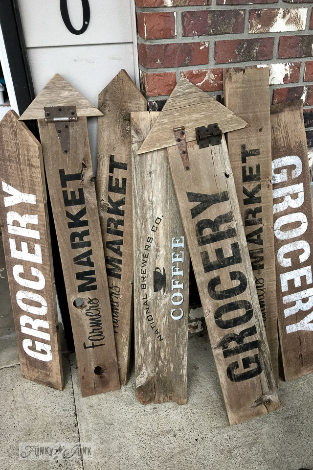 Wooden stencilled signs by FunkyJunkInteriors.net