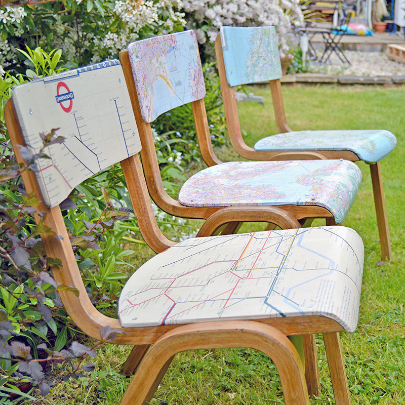 Personalized map chairs by PIllar Box Blue, featured on Funky Junk Interiors