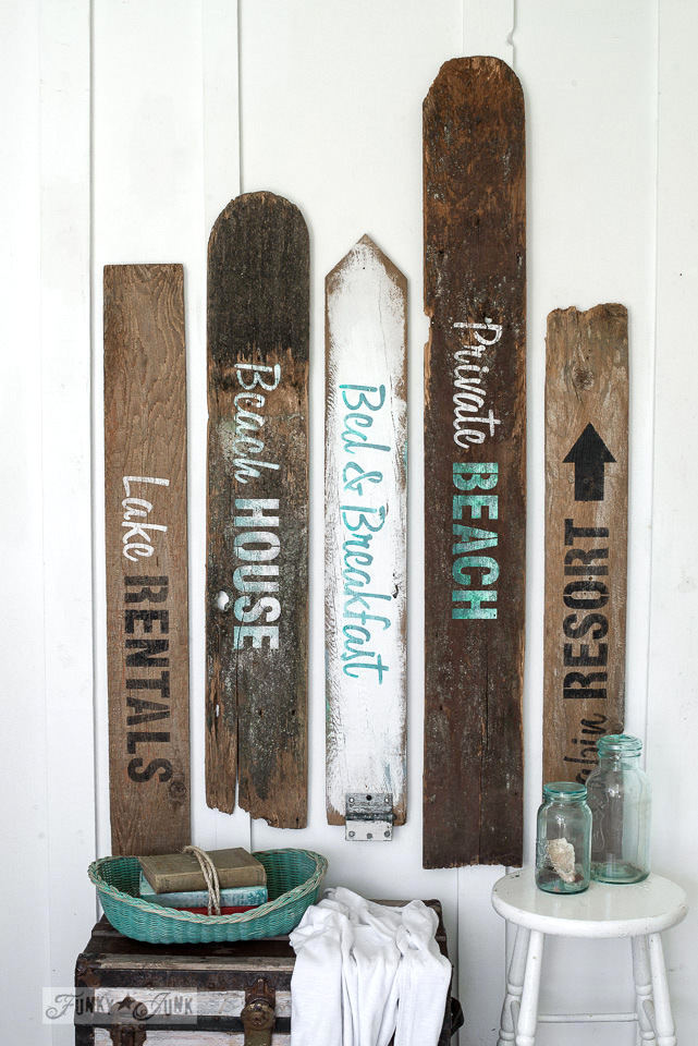 Beach signs with the Getaway Collection -Funky Junk's Old Sign Stencils