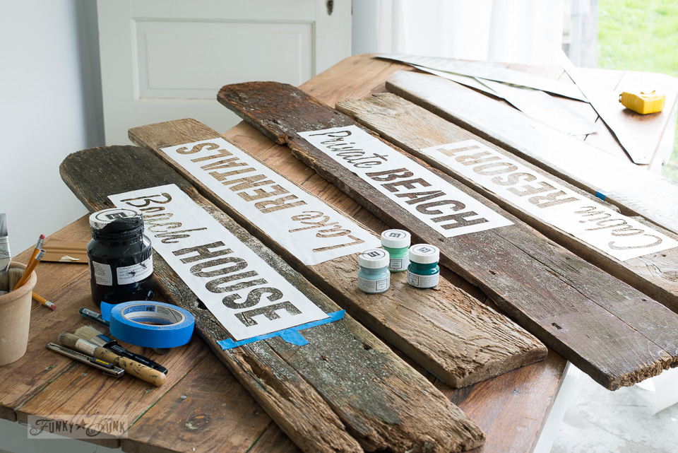 Make your own rustic beach, lake, and bed & breakfast signs / Funky Junk's Old Sign Stencils
