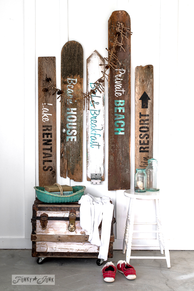 Learn how to make your own rustic beach, lake, and bed & breakfast signs with reclaimed wood and Funky Junk's Old Sign Stencils! The perfect staycation, vacation or getaway look! Click to read full tutorial!
