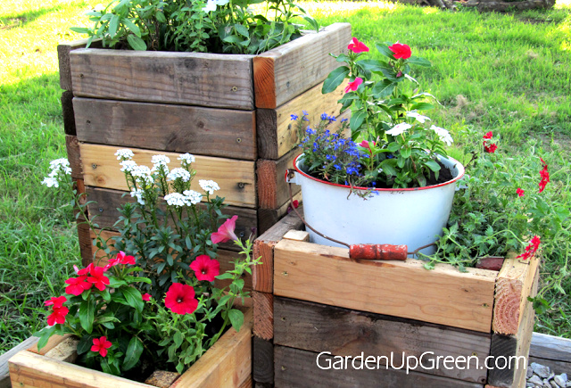 DIY Reclaimed Wood Planter Boxes by Garden Up Green, featured on Funky Junk Interiors