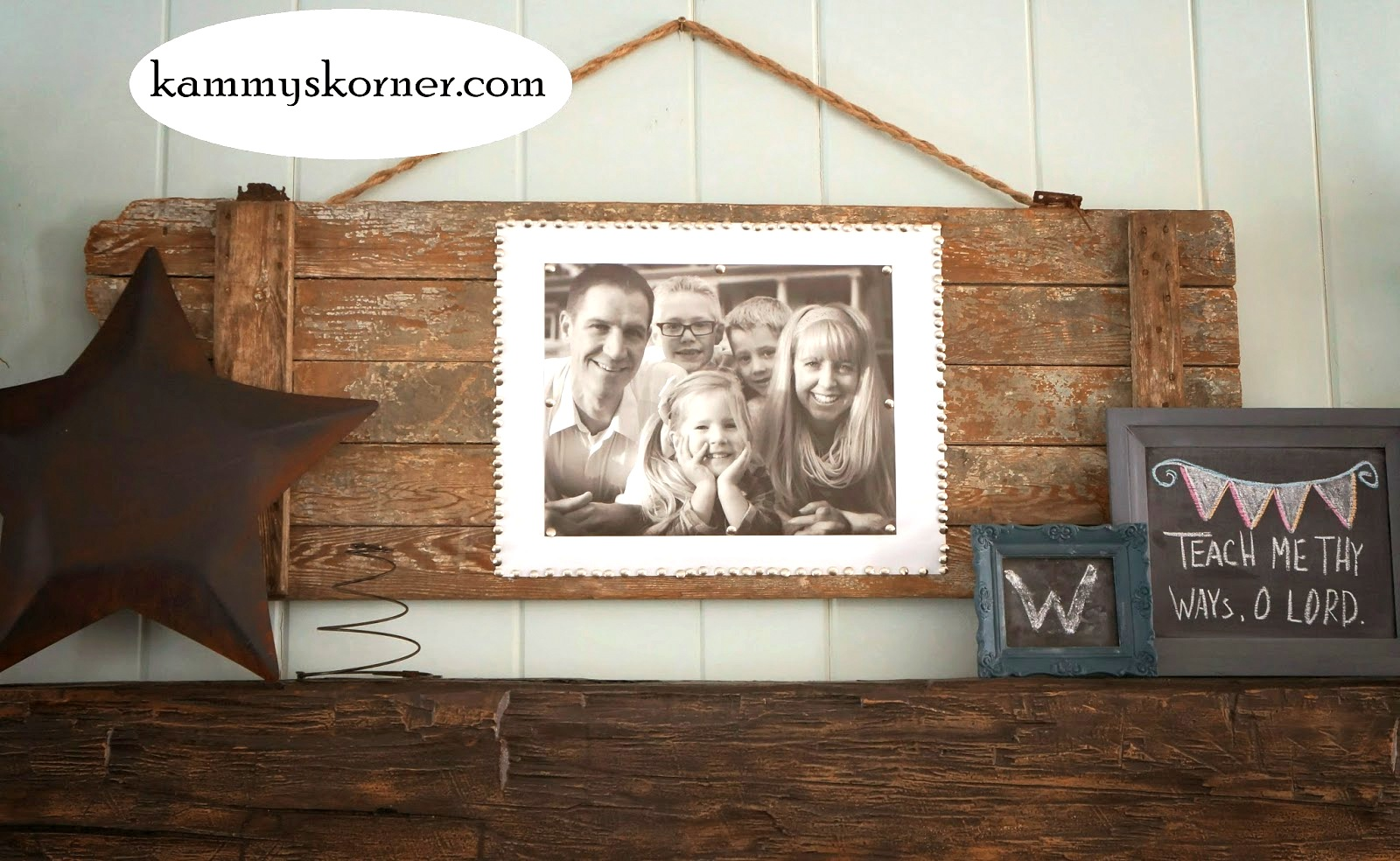 Barn door photo decor by Kammy's Korner, featured on Funky Junk Interiors