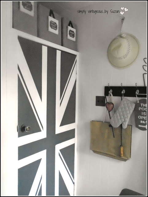 Painted union jack door, by Simply Vintageous by Suzan, featured on Funky Junk Interiors