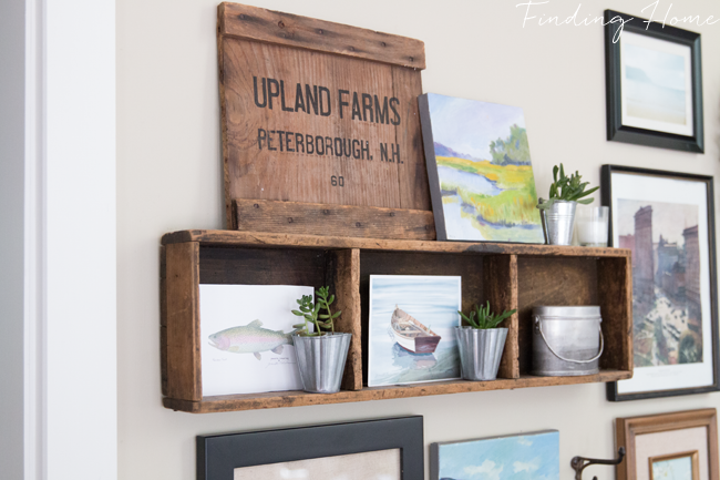 Crate inspired wall gallery by Finding Home, featured on Funky Junk Interiors