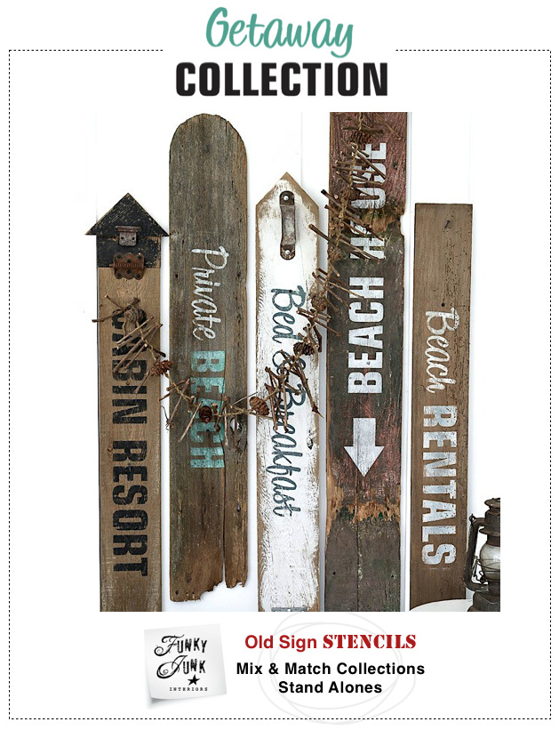 Getaway Collection : Funky Junk's Old Sign Stencils