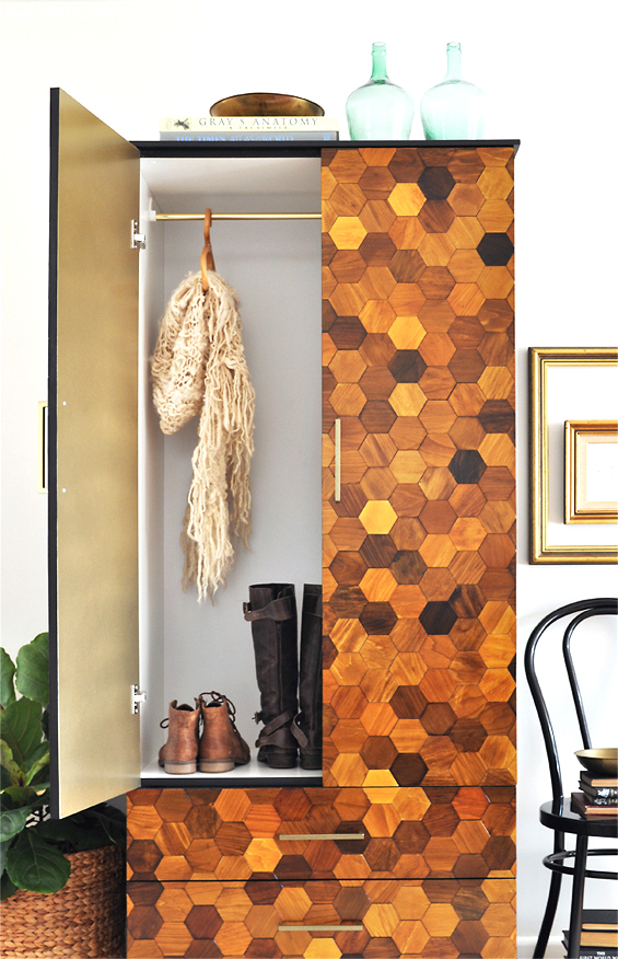 Hexigon wardrobe makeover by The Painted Hive, featured on Funky Junk Interiors