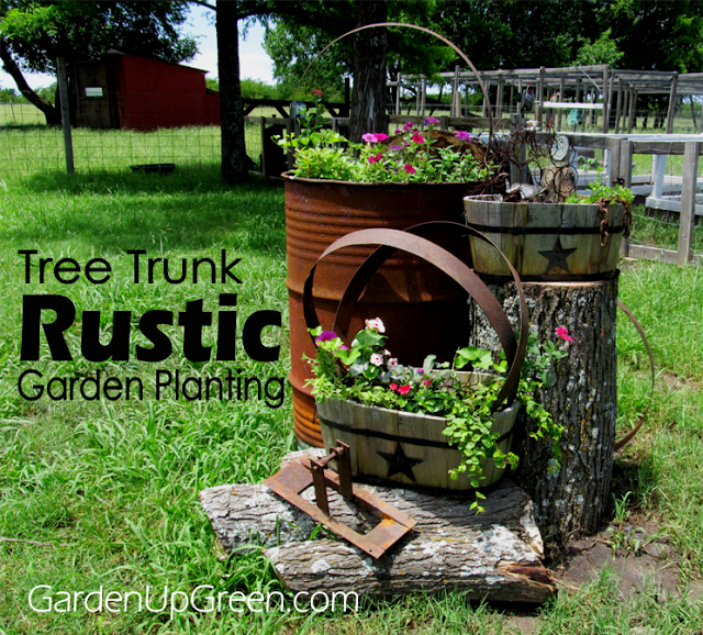 Tree Trunk Rustic Garden Planting, by Garden Up Green, featured on Funky Junk Interiors