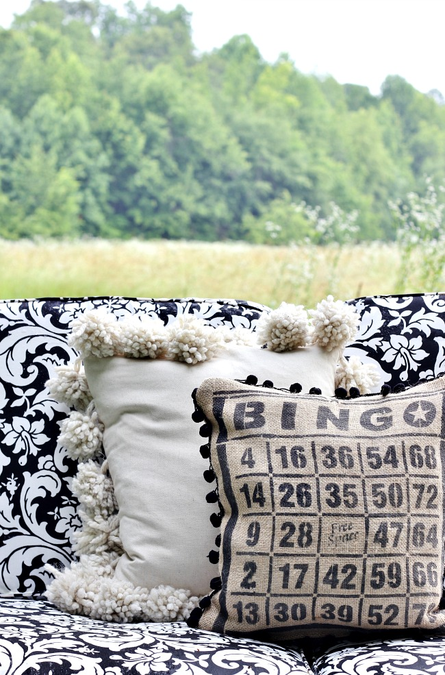 Bingo card burlap pillow by Thistlewood Farms, featured on Funky Junk Interiors