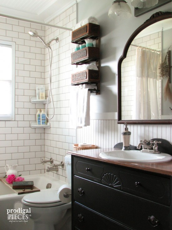 Farmhouse bathroom remodel by Prodigal Pieces, featured on Funky Junk Interiors