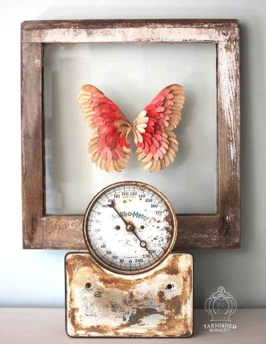 Maple Seed Butterfly Art, by Tarnished Royalty, featured on Funky Junk Interiors