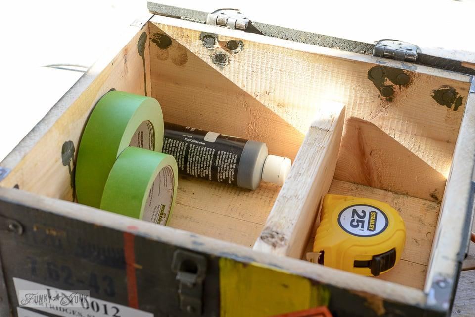 Adding a shelf / Ammunition crate workshop cabinet / funkyjunkinteriors.net