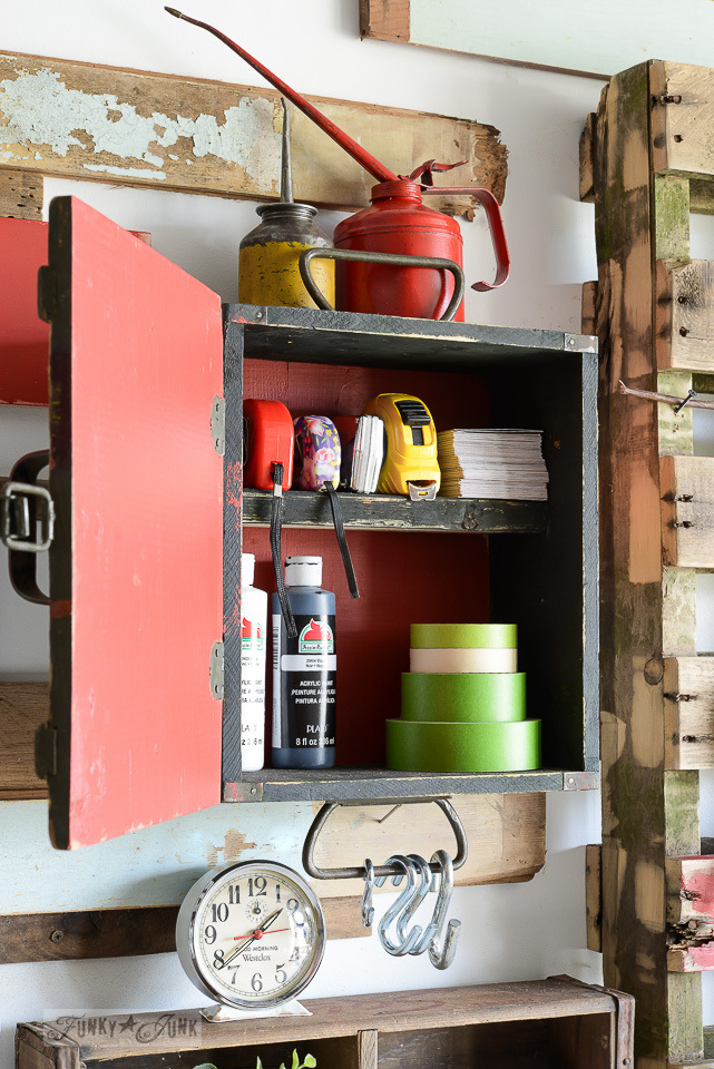 Painting inside a cabinet with Fusion Mineral Paint's Fort York Red / Ammunition crate workshop cabinet / funkyjunkinteriors.net