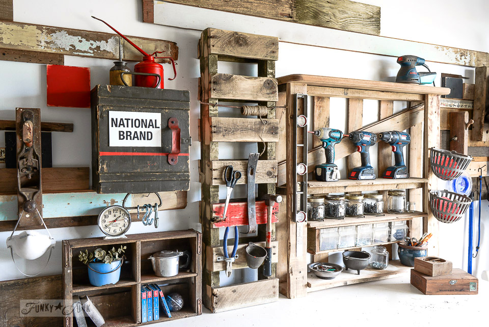 A tidy pallet wood repurposed workshop space for tool storage.. part of Getting stuff done with The 20 Second Rule. If it take you longer than 20 seconds to start your tasks you never seem to complete, this write-up is for you! funkyjunkinteriors.net