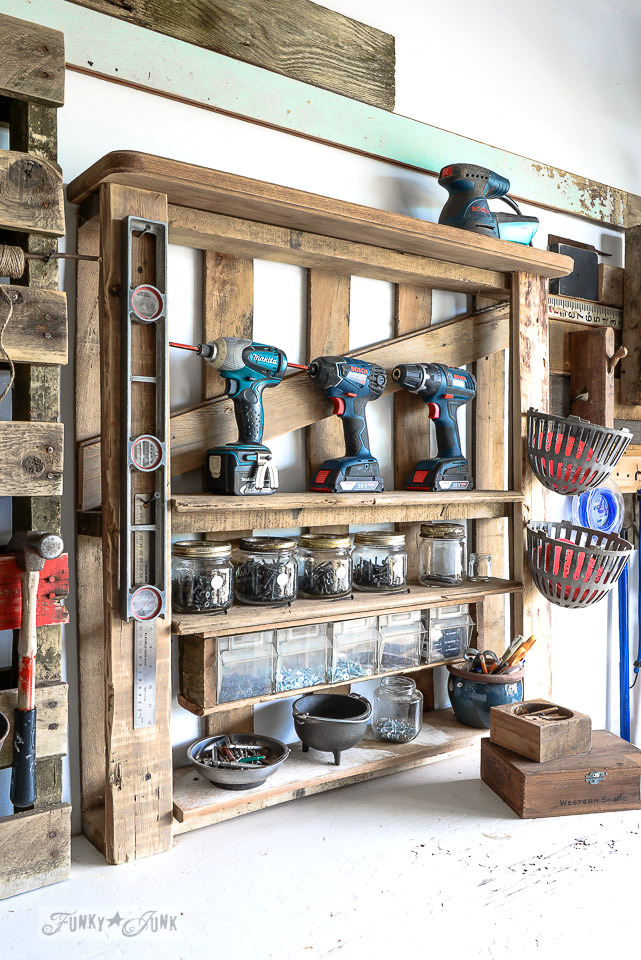 enhanced pallet wood shelf as workshop storage for tools / funkyjunkinteriors.net