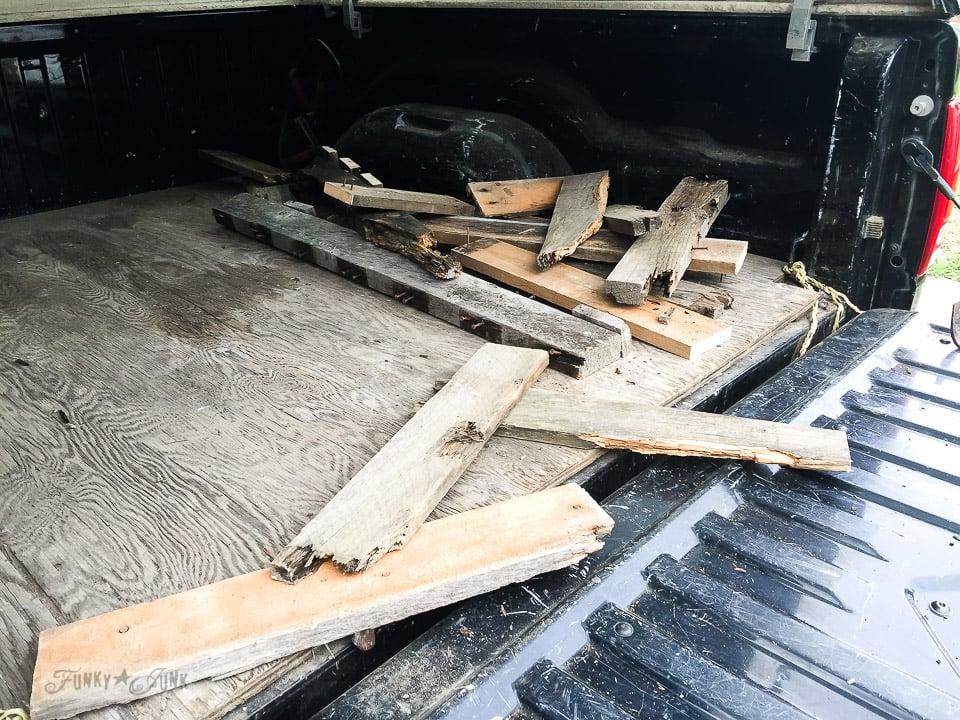 pallet wood scraps / why rotten pallet wood is a score / FunkyJunkInteriors.net