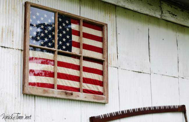 Antique window framed flag display, by Knick of Time, featured on Funky Junk Interiors