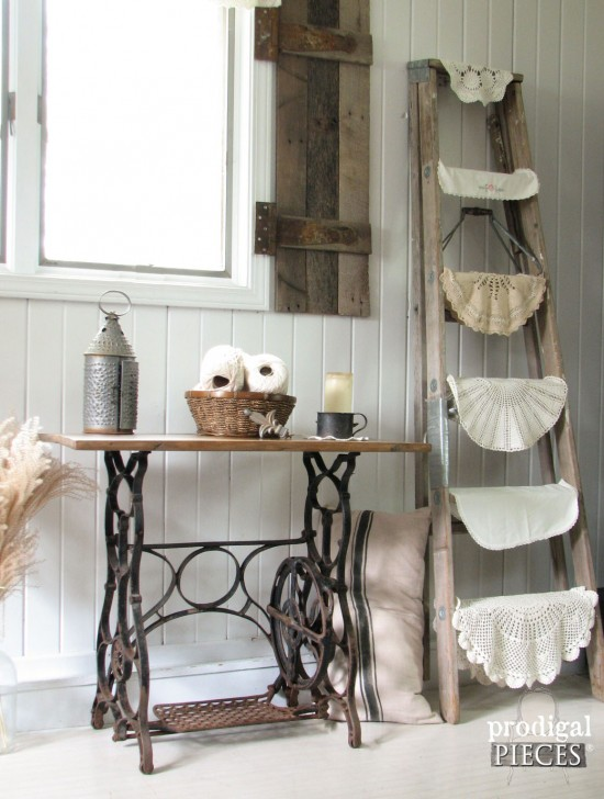 Repurposed sewing machine turned table, by Prodical Pieces, featured on Funky Junk Interiors