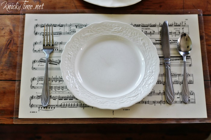 Laminated vintage sheet music placemats, by Knick of Time, featured on Funky Junk Interiors
