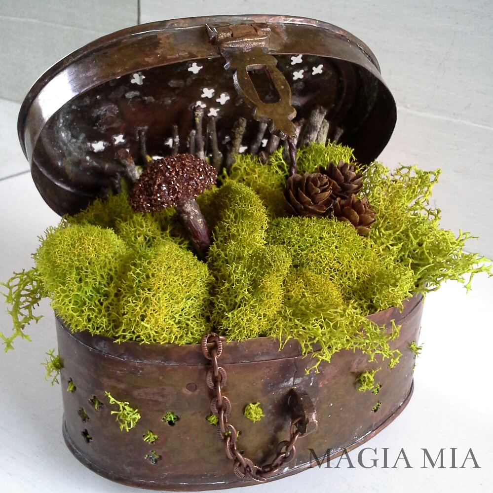 Tabletop Steampunk Fairy Garden in a Cricket Box, by Magia Mia, featured on Funky Junk Interiors