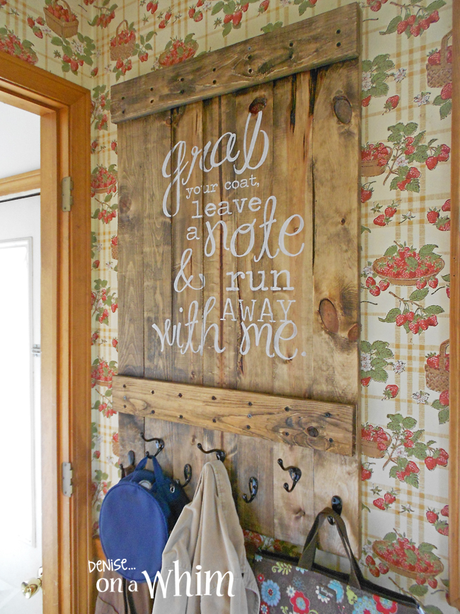 Coat hook quote sign, by Denise on a Whim, featured on Funky Junk Interiors