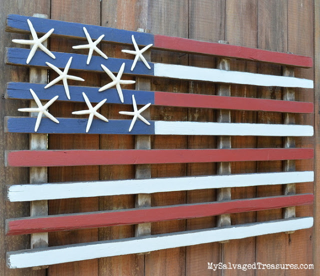 Pallet wood rustic American flag, by My Salvaged Treasures, featured on Funky Junk Interiors