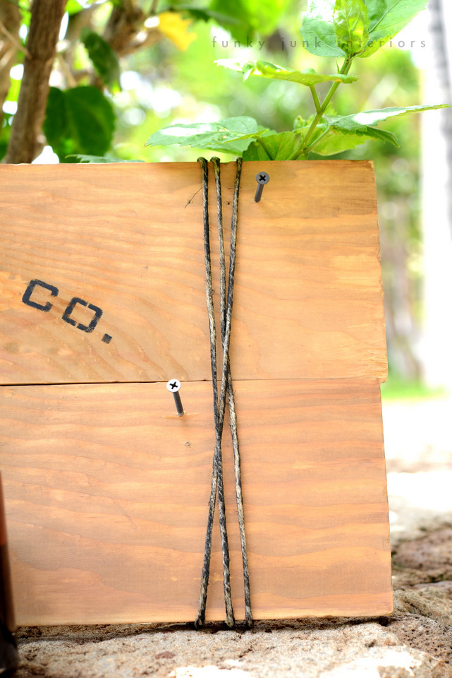 Twine detailing / Maui coffee sign with Funky Junk's Old Sign Stencils / funkyjunkinteriors.net