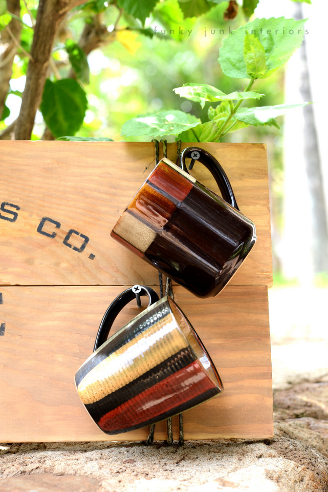 Mugs hanging / Maui coffee sign with Funky Junk's Old Sign Stencils / funkyjunkinteriors.net
