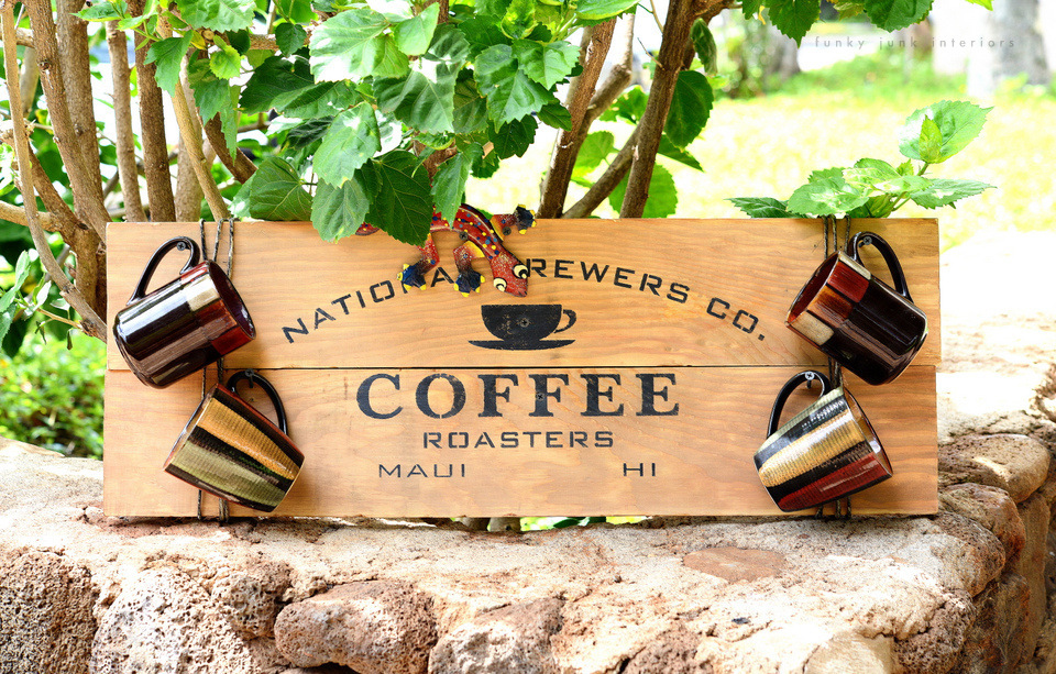Maui coffee sign with Funky Junk's Old Sign Stencils / funkyjunkinteriors.net