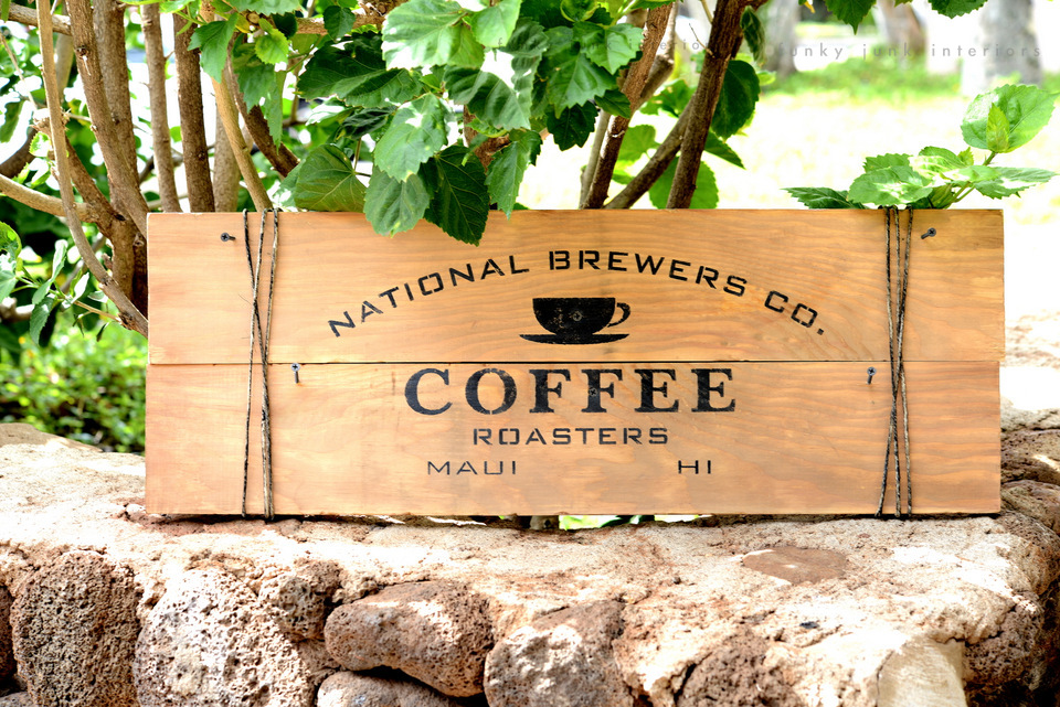 Maui coffee sign with Funky Junk's Old Sign Stencils