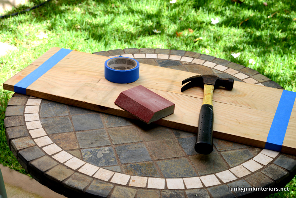 taping planks together  / Maui kitchen coffee sign, with Funky Junk's Old Sign Stencils / funkyjunkinteriors.net
