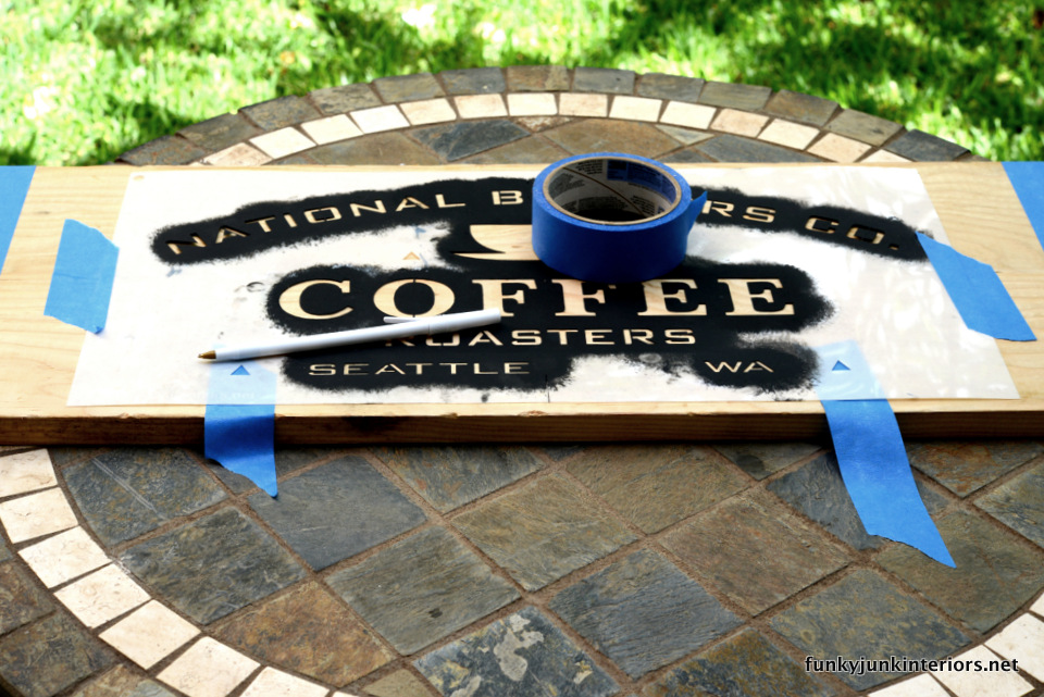 stencilling coffee stencil onto planks  / Maui kitchen coffee sign, with Funky Junk's Old Sign Stencils / funkyjunkinteriors.net