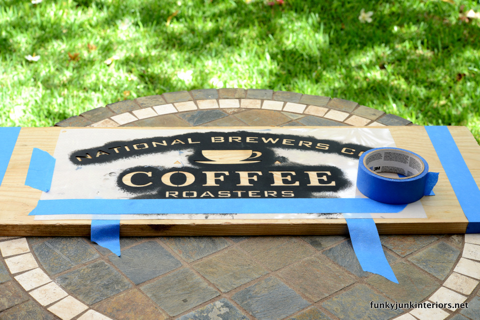 how to stencil a coffee sign  / Maui kitchen coffee sign, with Funky Junk's Old Sign Stencils / funkyjunkinteriors.net