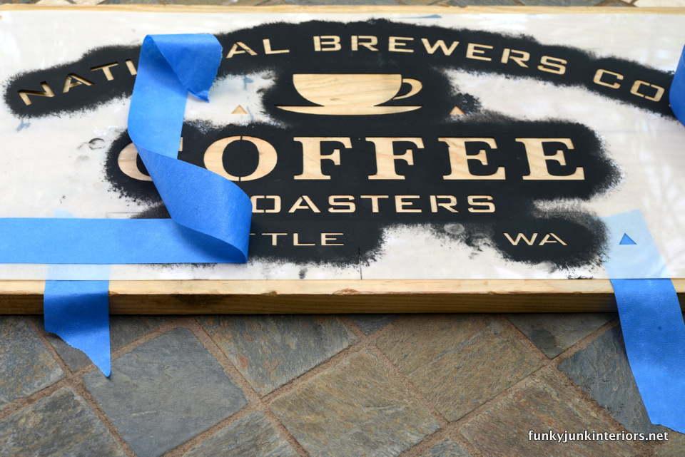 masking tape over image you don't want stencilled  / Maui kitchen coffee sign, with Funky Junk's Old Sign Stencils / funkyjunkinteriors.net