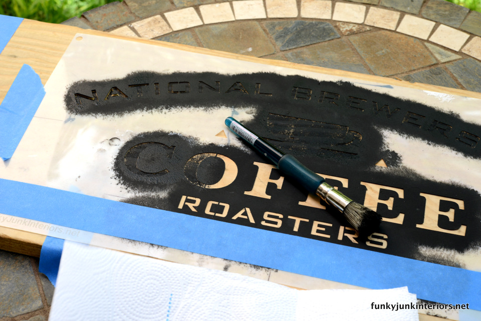 use a dry stencil brush  / Maui kitchen coffee sign, with Funky Junk's Old Sign Stencils / funkyjunkinteriors.net