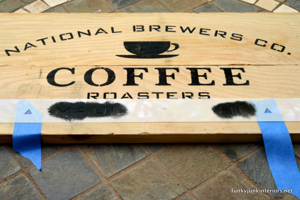 how to stencil a coffee sign on planks  / Maui kitchen coffee sign, with Funky Junk's Old Sign Stencils / funkyjunkinteriors.net