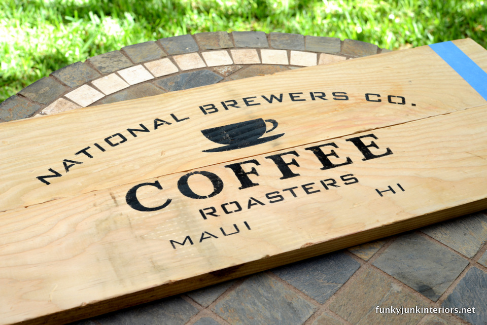 how to stencil  / Maui kitchen coffee sign, with Funky Junk's Old Sign Stencils / funkyjunkinteriors.net