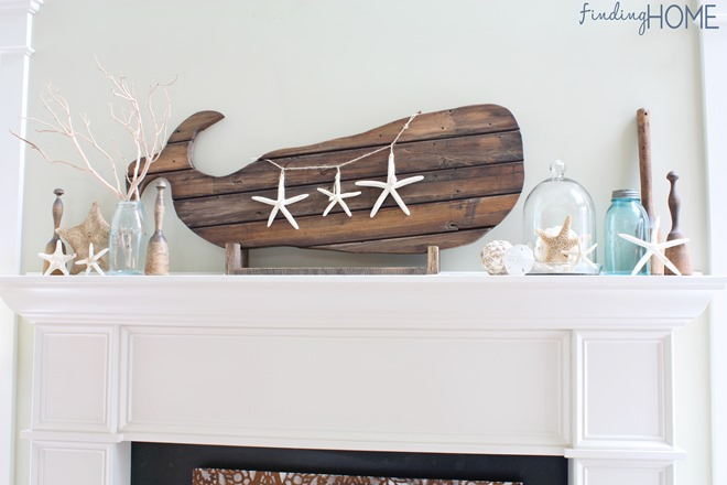 Reclaimed wood whale art, by Finding Home, featured on Funky Junk Interiors