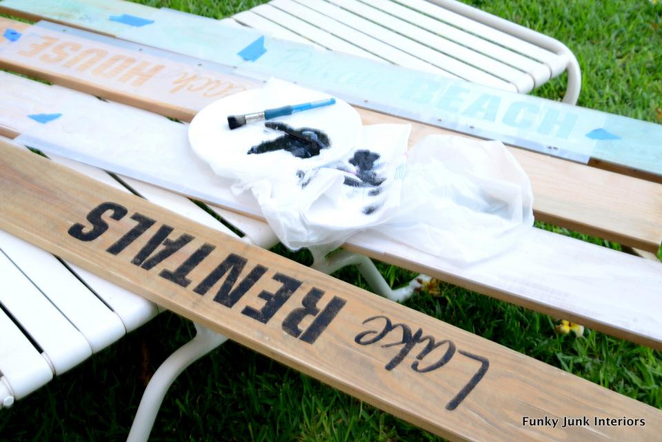 stencilling sign planks / Beach signs towel hanger / funkyjunkinteriors.net
