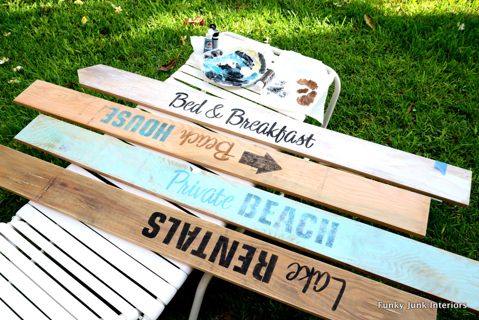 Beach and lake themed signs / Funky Junk's Old Sign Stencils Getaway Collection / funkyjunkinteriors.net